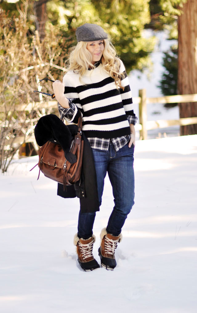1 winter style - newsboy cap-stripes-plaid-jeans-brown and black-duck boots- cute crocs snow boots