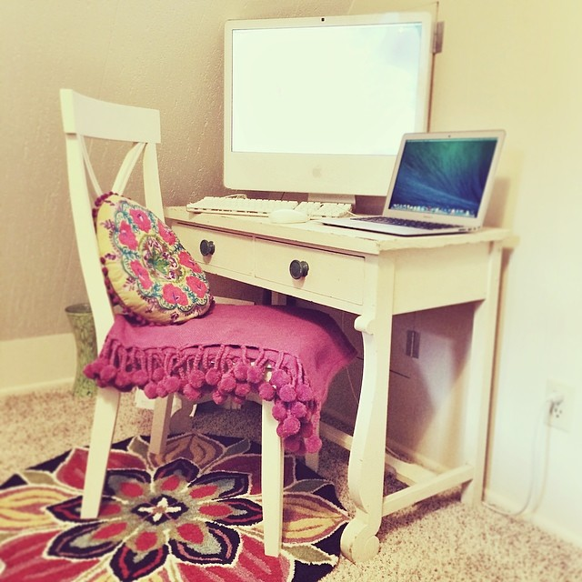mock office in the guest room