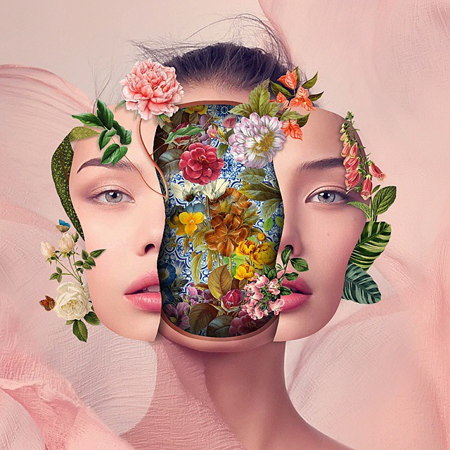 artist Marcelo Monreal Un Bounded portraits with flowers collages