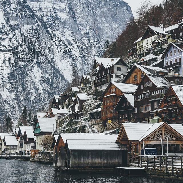 snowy villa on the lake