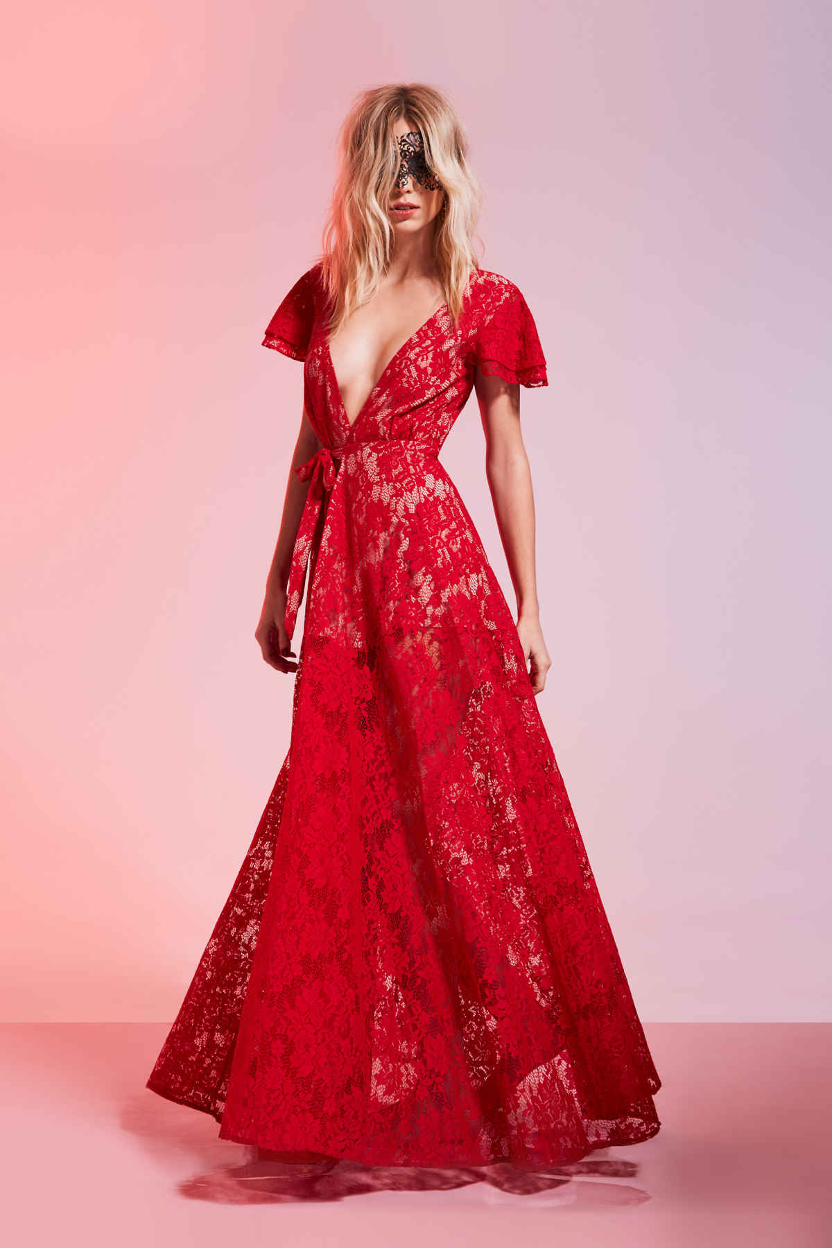 Red lace max dress