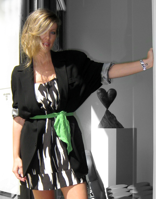 black and white dress with oversized blazer and green sash