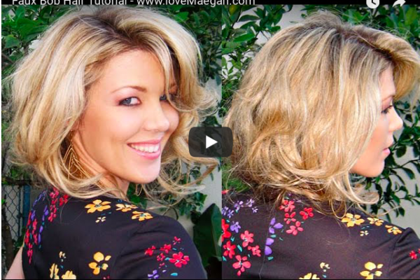 faux bob hair tutorial with big bouncy loose curls