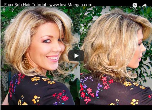 faux bob hair tutorial with big bouncy loose curls