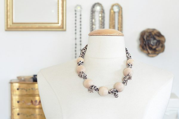 diy wooden bead and leopard print scarf necklace