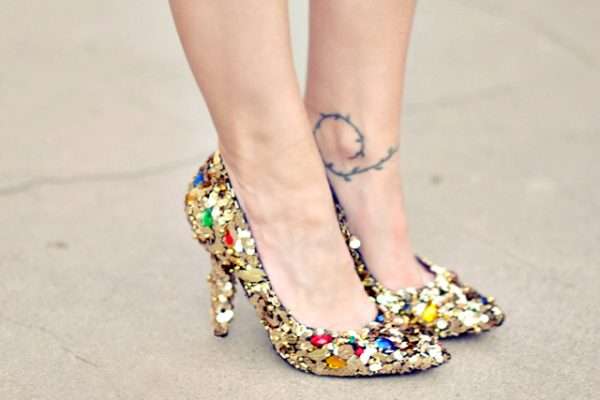 Diy gold embellished shoes