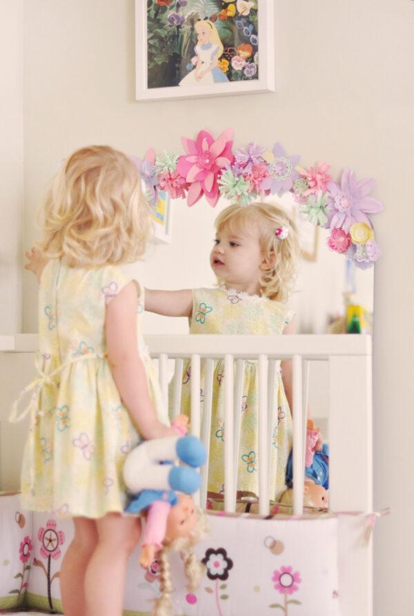 DIY paper flower mirror frame for kids