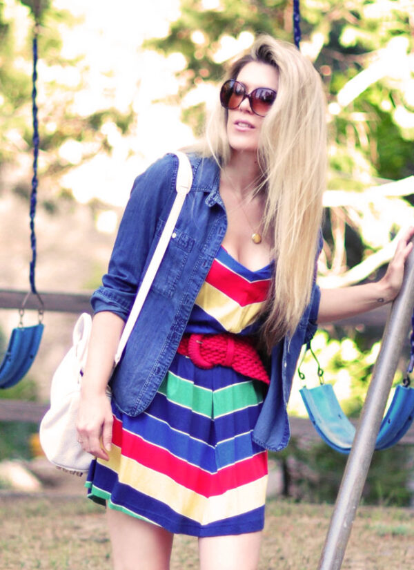 retro summer look 70s 80s rainbow stripes long hair