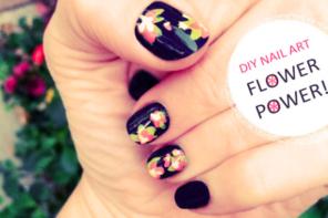 diy hand painted flower nail art dark spring manicure