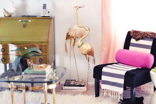 office sitting area - vintage desk-brass-pink black space