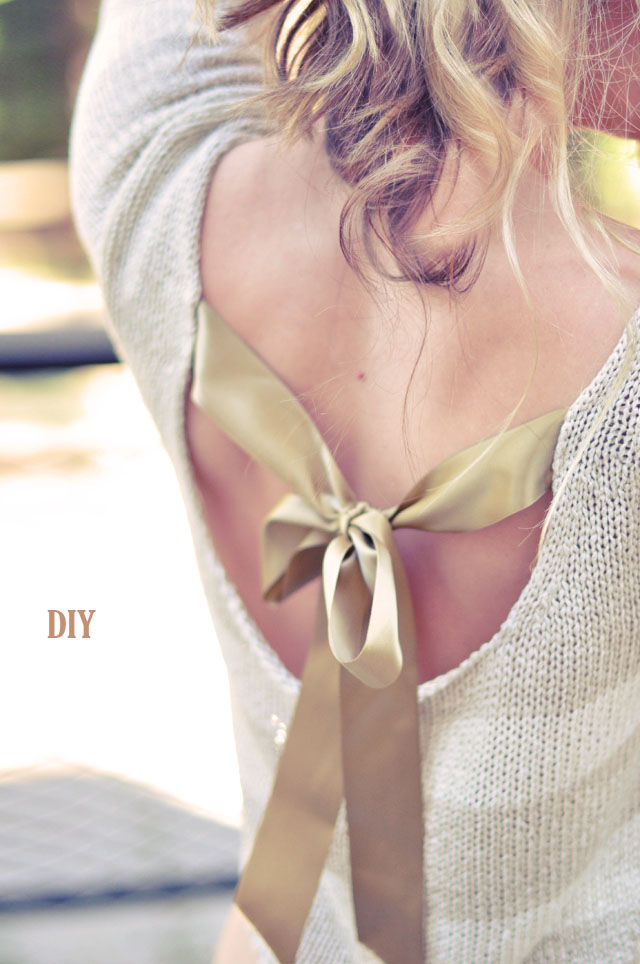 pretty sweater DIY with open back and satin bow tie DIY