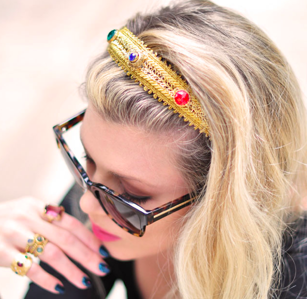 DIY headband Dolce and Gabbana gold bejeweled headband crown tutorial
