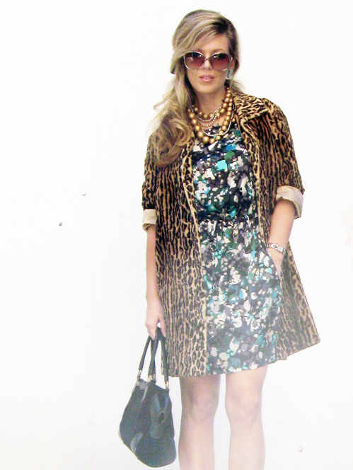 mixing prints - floral and leopard print