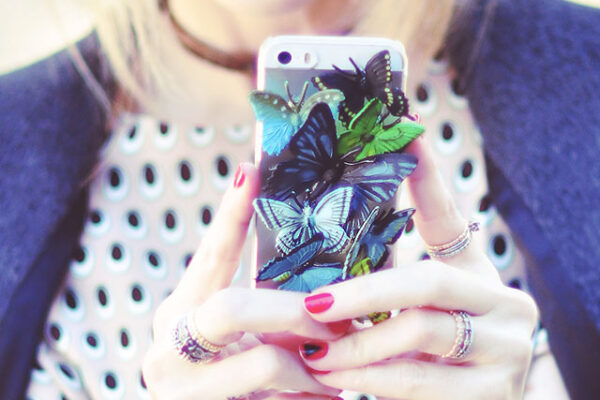 DIY phone case with butterlies