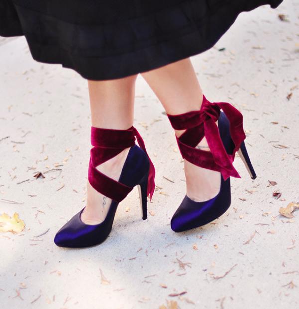 blue satin shoes, heels, pumps, velvet ankle wrap shoes