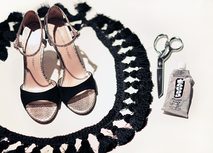DIY Ankle Strap Sandals Heels with tassels -1