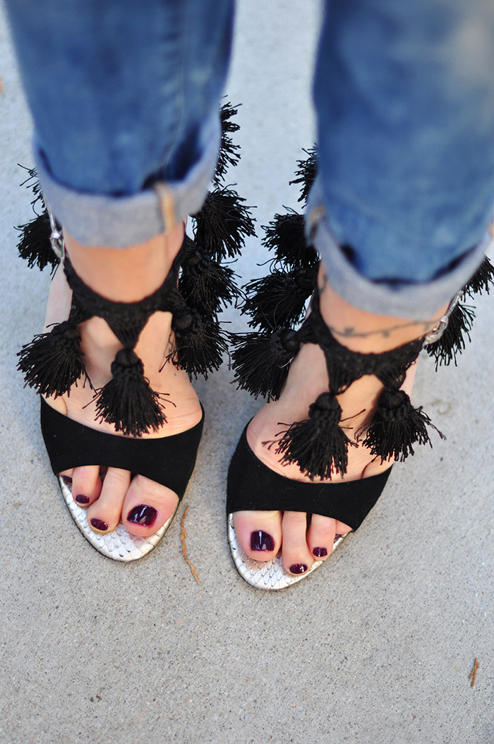 DIY Ankle Strap Sandals Heels with tassels - wine pedicure