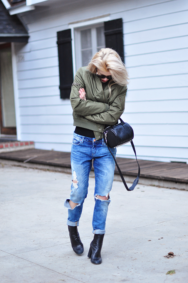 boyfriend jeans, bodysuit, bomber jacket