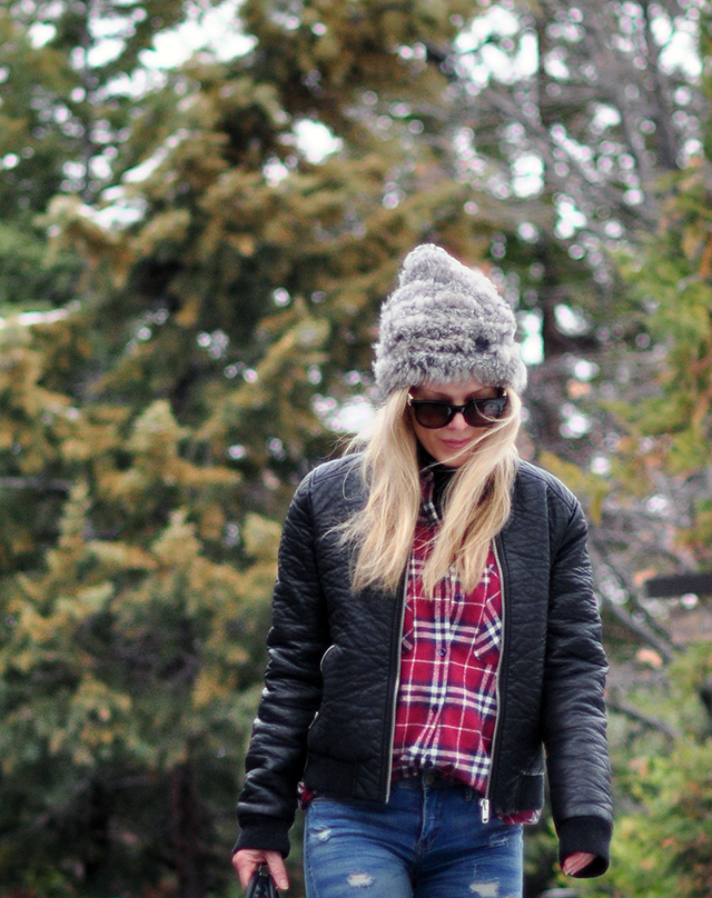 faux leather bomber jacket with plaid shirt - mountain look in the snow