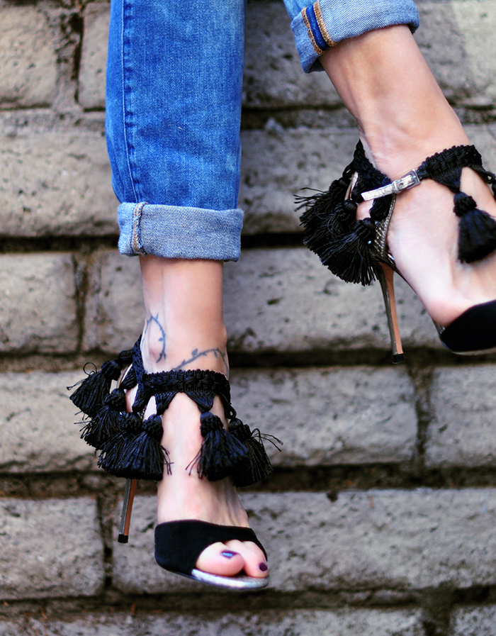 tassel sandal heels with jeans