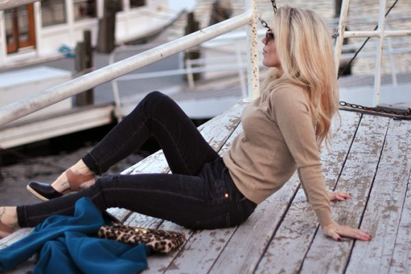 on lake arrowhead- winter style-on the dock-love maegan tintari - gant sweater