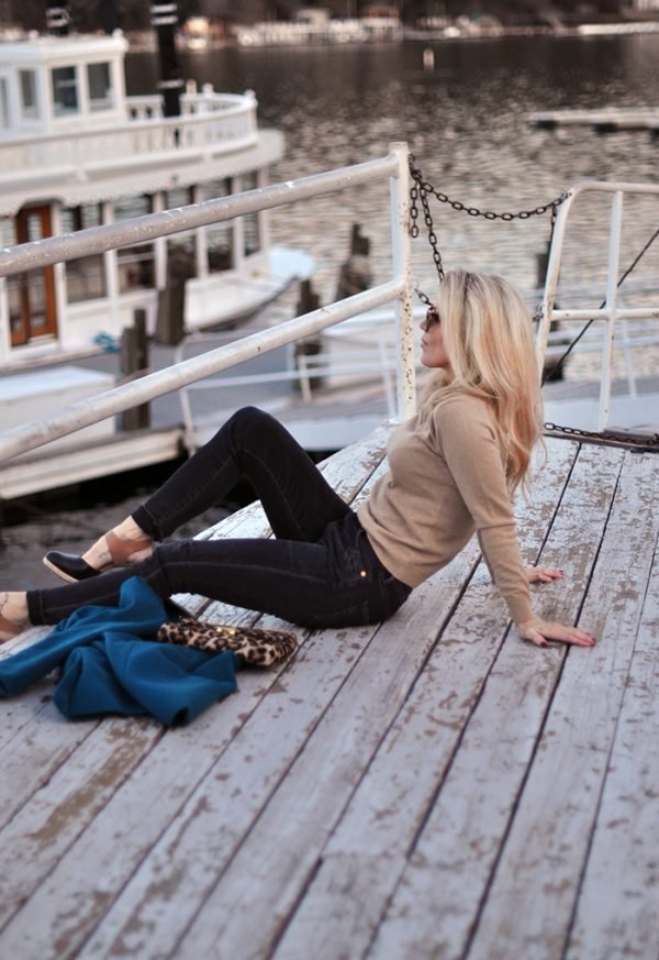on lake arrowhead- winter style-on the dock-love maegan tintari - gant sweater