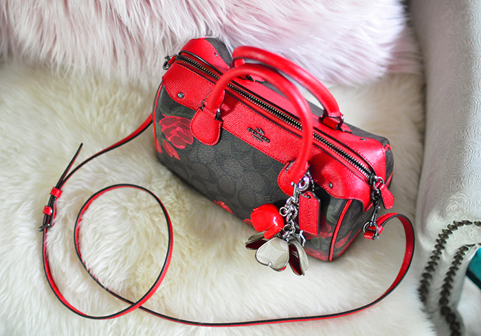 coach bag, cc logo, red leather accents and red roses