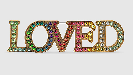 Gucci LOVED collection - rainbow love pin