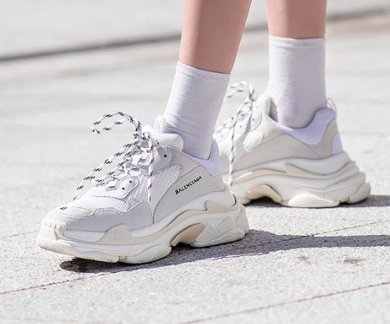 Balenciaga Triple S white runners - trendy sneakers