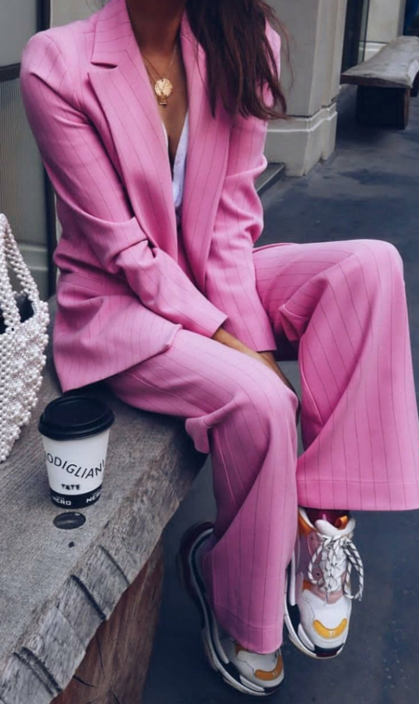pink suit - balenciaga Triple S runners - suits with sneakers