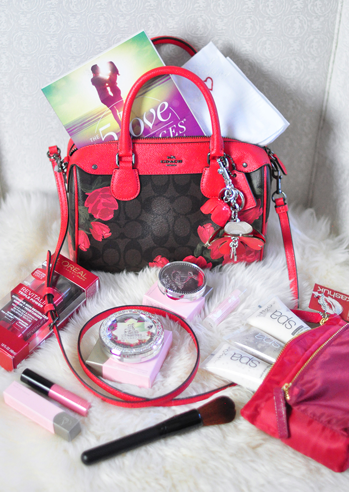 Valentine's Day blogger giveaway - designer logo coach bag with roses + beauty, makeup, skincare, and more!