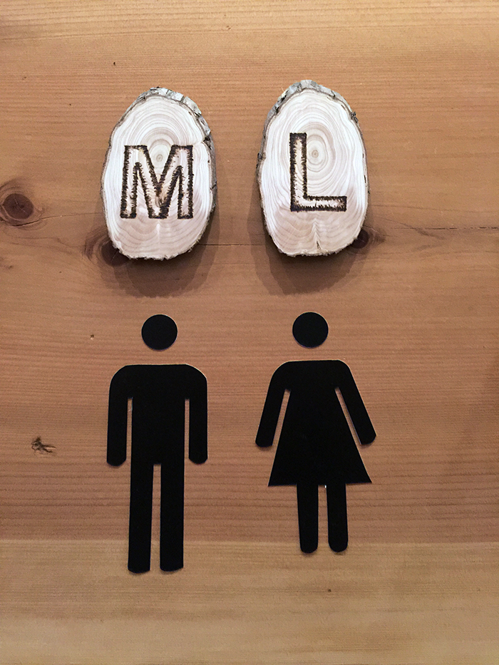 DIY Rustic and Modern public restroom signs for a bar