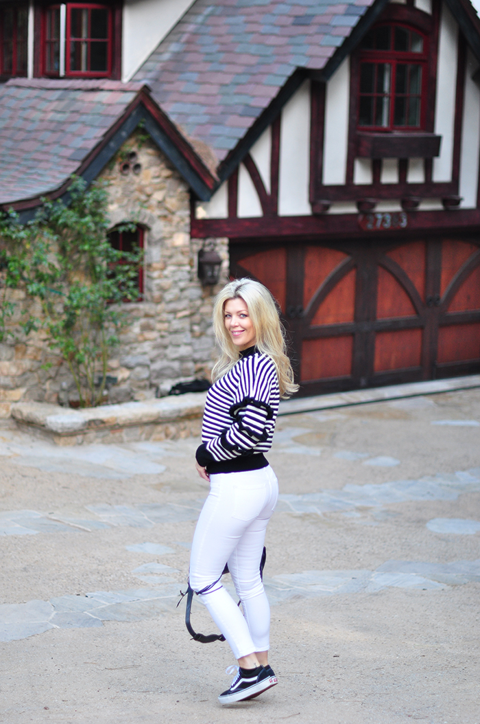 love maegan - black and white outfit - white jeans- striped sweater with ruffles - old skool vans