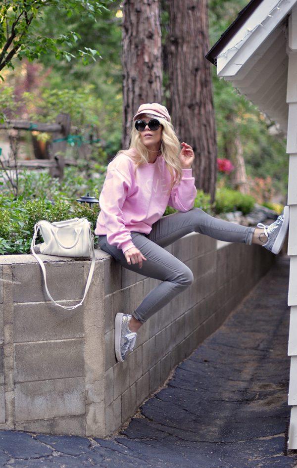 pink LOVE animals sweatshirt-glitter shoes-grey jeans-white alexander wang bag