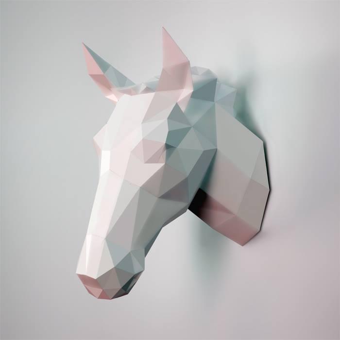 horse faux taxidermy head - DIY 3d paper wall sculptures