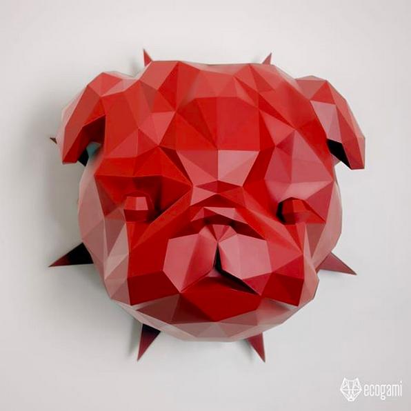 Pug faux taxidermy head - DIY 3d paper wall sculptures