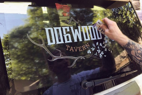 Dogwood Tavern-car window decal application