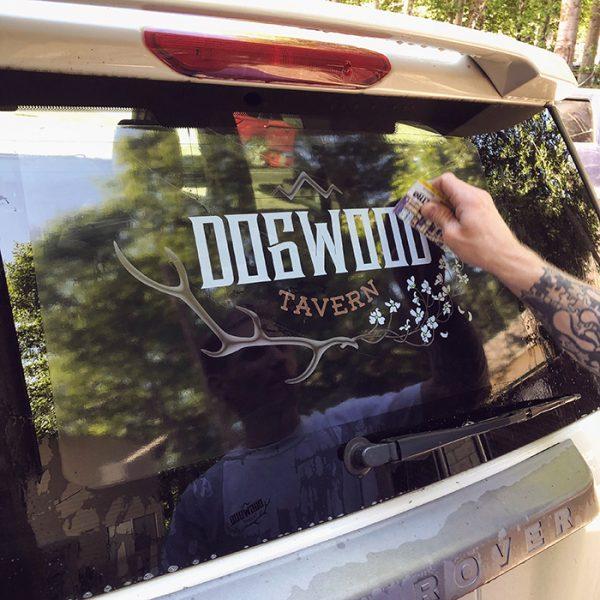 Dogwood Tavern-car window decal application