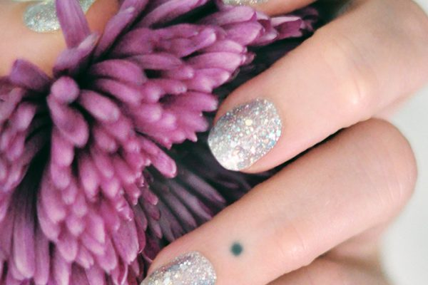color street nail polish strips review - glitter nails purple flower