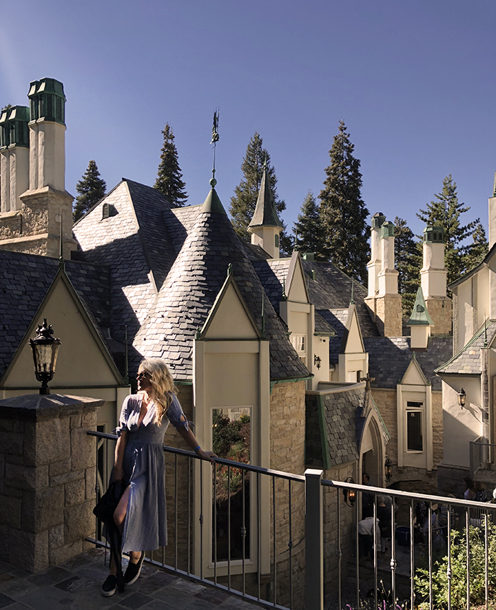 the castle house in lake arrowhead - love maegan tintari - blue dress by free people