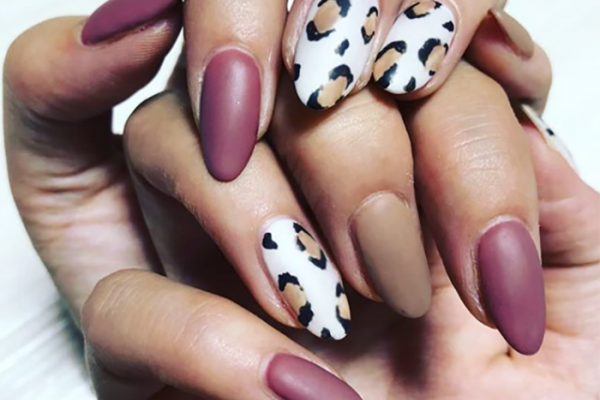 chic and sexy leopard nails - matte burgundy and taupe