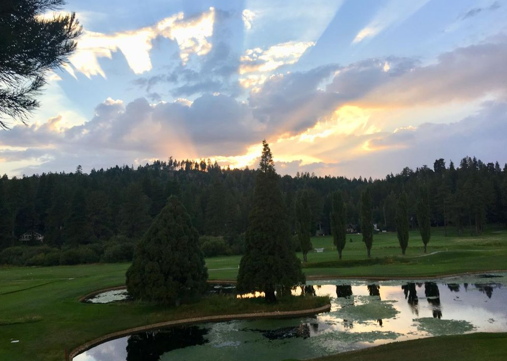 lake arrowhead house on the golf course -sunset