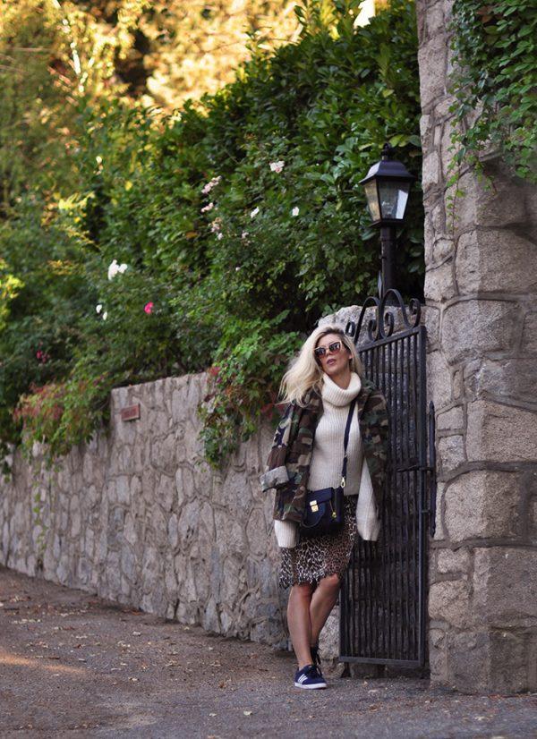 leopard skirt - oversized crop sweater-camo jacket-barton perriera sunglasses-phillip lim bag-adidas sneakers
