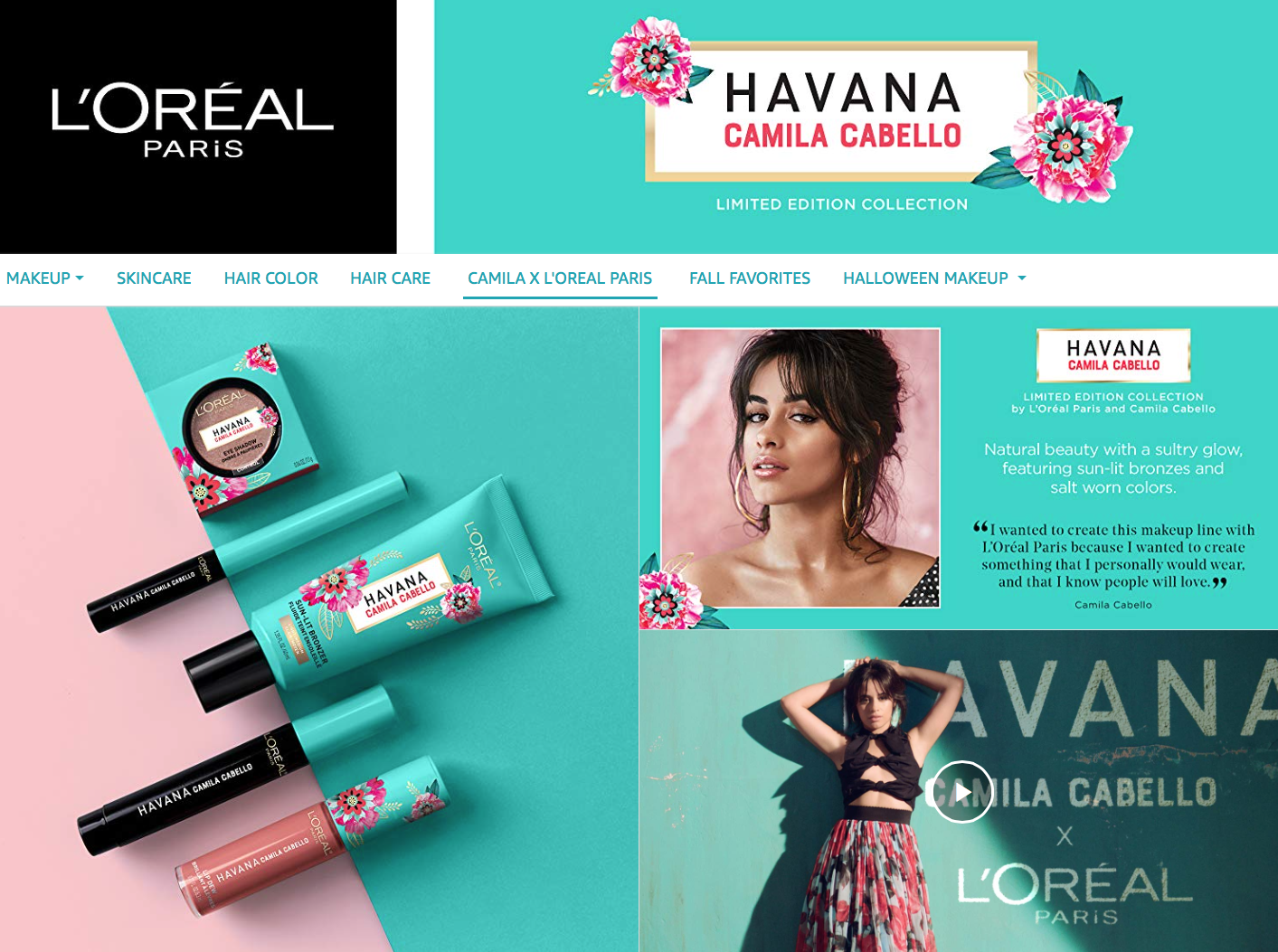 limite edition camila cabello loreal paris makeup collection