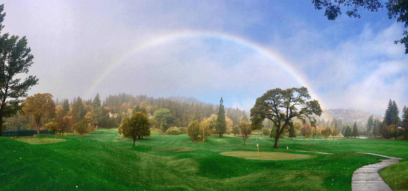 rainbow over the golf course - lake arrowhead life on the mountain