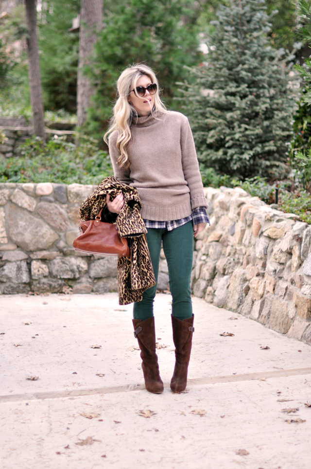 winter outfit- green cords- sweater-leopard and plaid