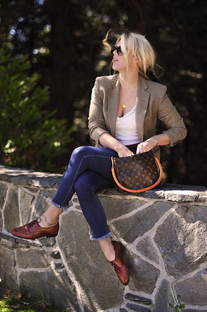 fall style, jeans and a blazer, love maegan tintari