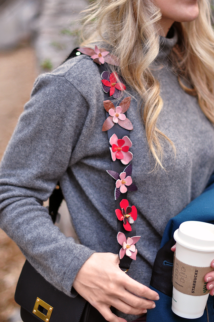 DIY Leather Shoulder Strap inspired by Fendi's Flowerland Strap You bag strap with flowers