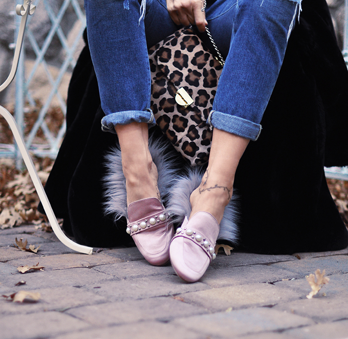 DIY Fur lined loafer slip ons - Gucci Princetown slippers with fur tutorial on pretty pink satin loafers with pearls
