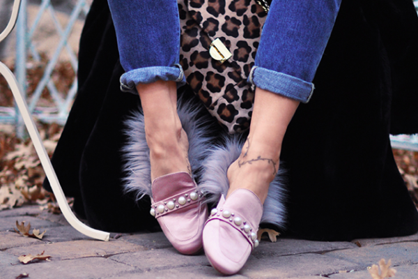 diy fur lined slippers - Gucci princetown slip on loafers diy tutorial